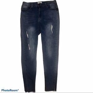 Between Us distressed raw hem jeans